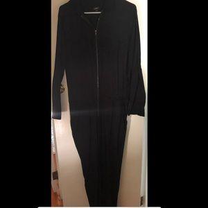 Ann Taylor Loft Black 3/4 Sleeve Jumpsuit